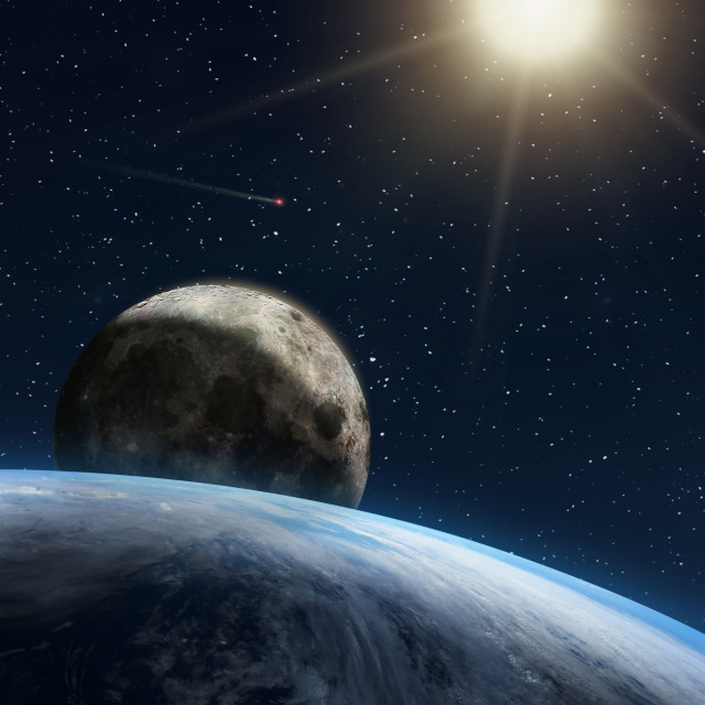 """""""Fantasy composition of the planet Earth and the Moon"""" stock image"""