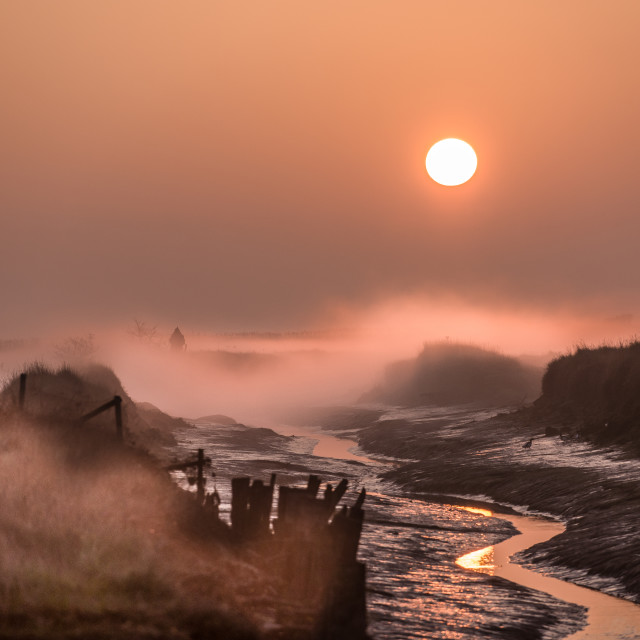 """Misty Sunrise Over Beaumont Essex"" stock image"