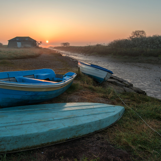 """Sunrise Over Beaumont Boats"" stock image"