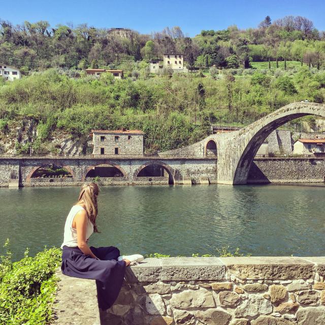 """""""Ponte della Maddalena, Borgo a Mozzano"""" stock image"""