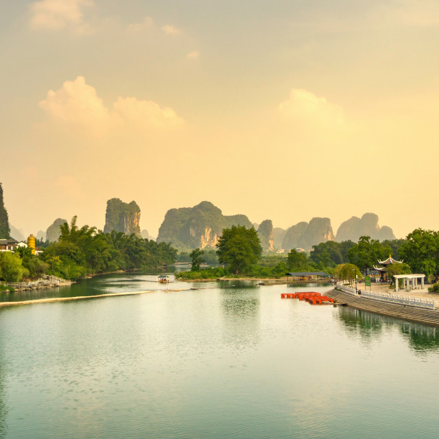 """Sunset over Li river in Yangshuo city area"" stock image"