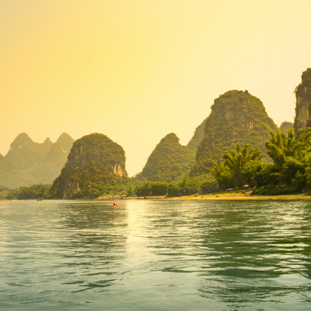 """Sunset over Li river in Yangshuo"" stock image"