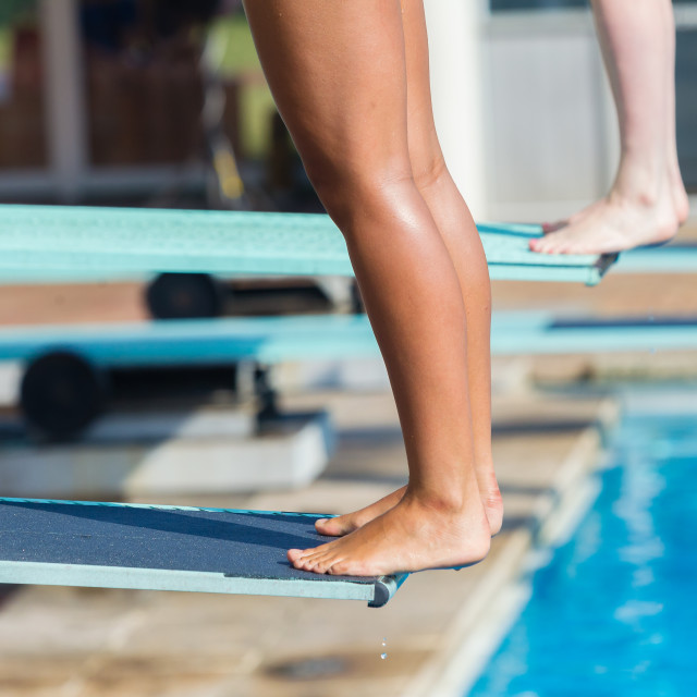 """Aquatic Pool Divers Board Feet Closeup Abstract"" stock image"