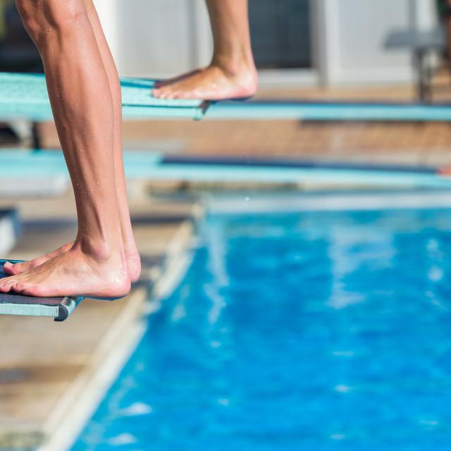 """Aquatic Pool Divers Board Feet Closeup Abstract"" stock image"