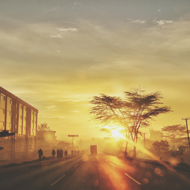 """The Sunrise Commute"" stock image"