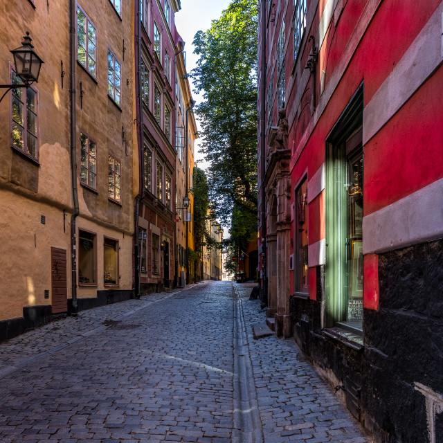 """Deserted Street Old Town Stockholm Sweden"" stock image"
