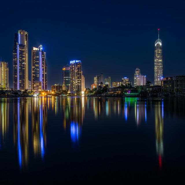 """Night Time Over Surfers Paradise Gold Coast"" stock image"