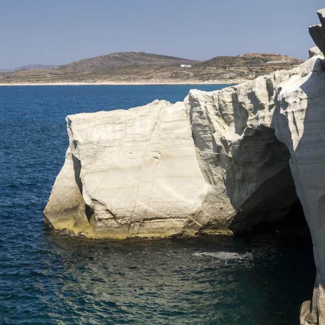 """Volcanic rocks of Sarakiniko"" stock image"