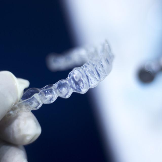 """Invisible dental aligner brackets"" stock image"