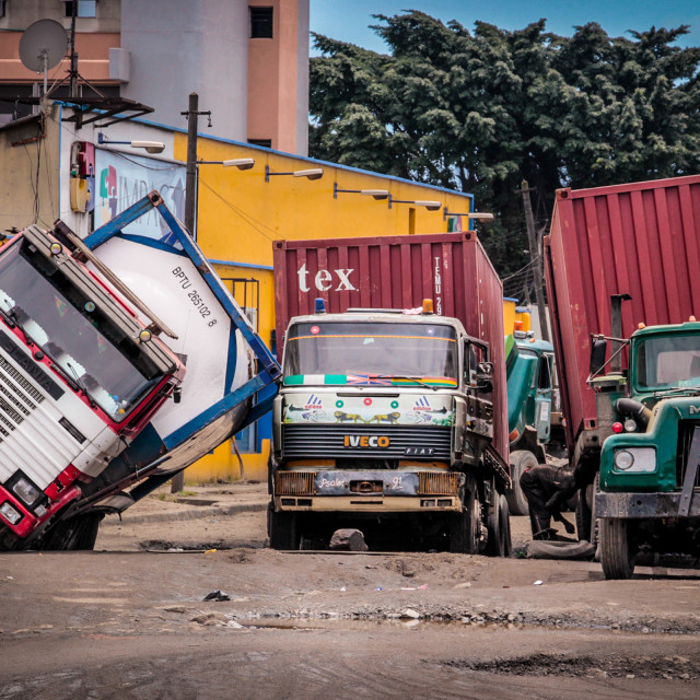 """Truck accident in Lagos"" stock image"