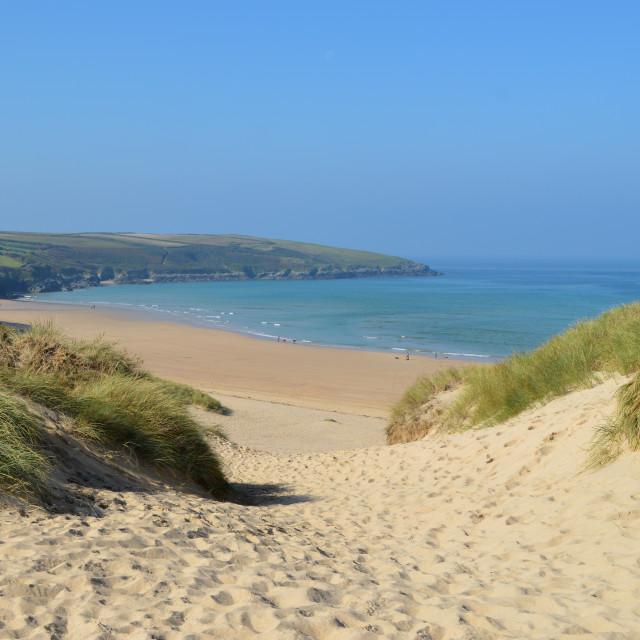 """Crantock Beach, Cornwall"" stock image"