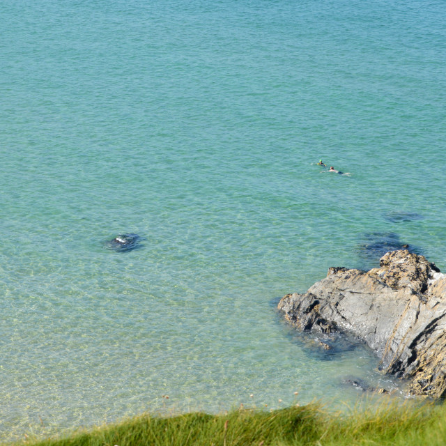 """""""Swimmers at Holywell Bay, Cornwall"""" stock image"""