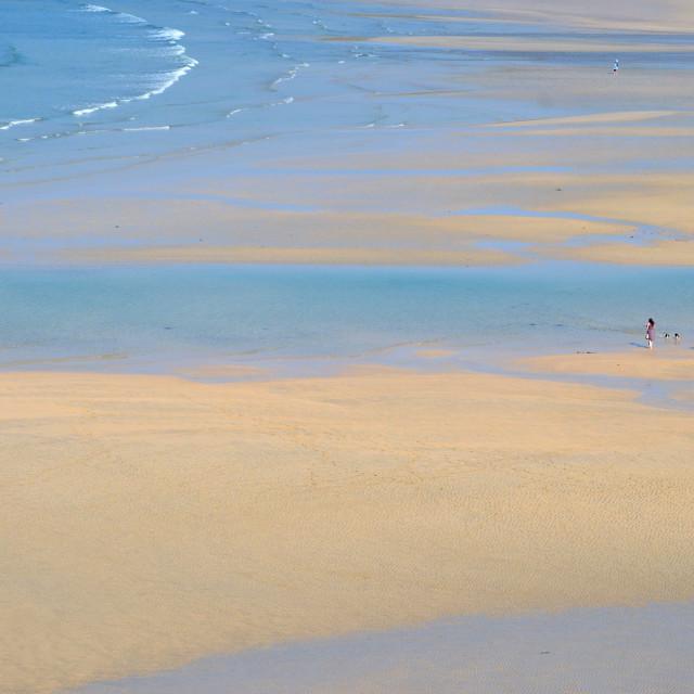 """Walking on Crantock Beach, Cornwall"" stock image"