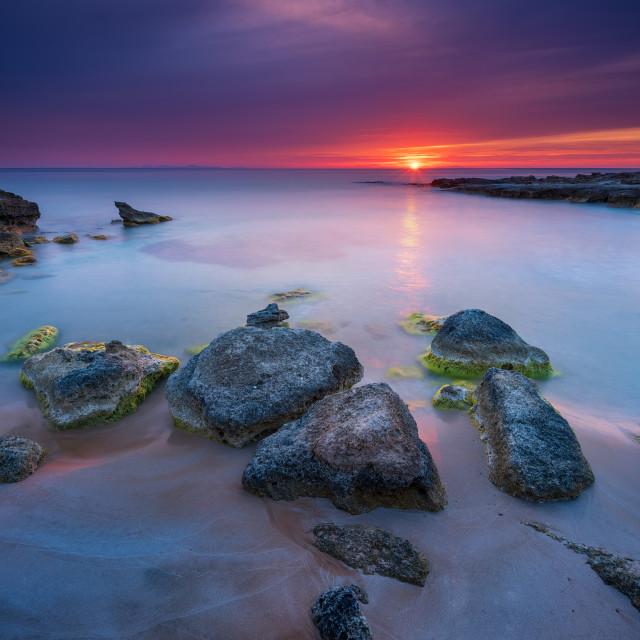 """Sunset in Aegean sea"" stock image"