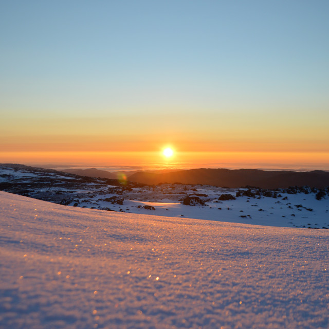 """Sunrise over the Snowy Mountains, Australia"" stock image"