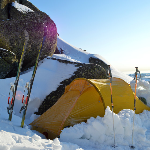 """Winter camping"" stock image"