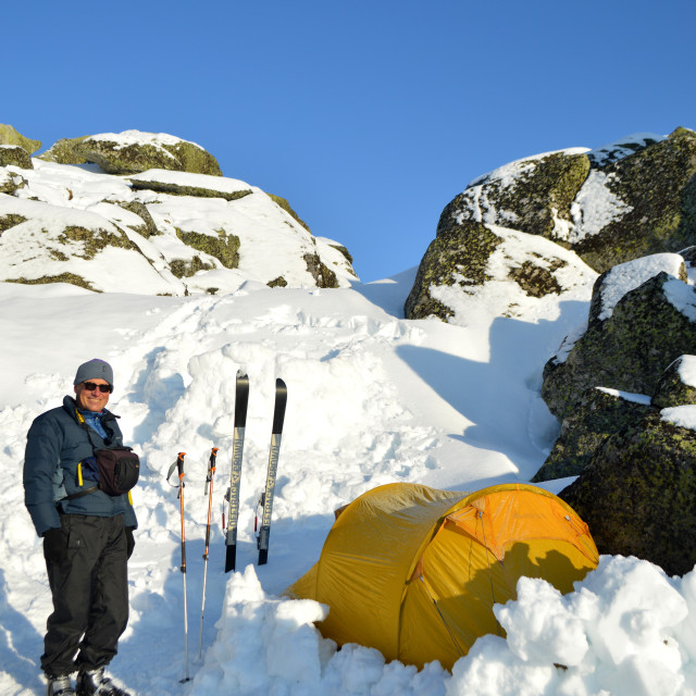 """Ski guide with tent in Australia's Snowy Mountains"" stock image"