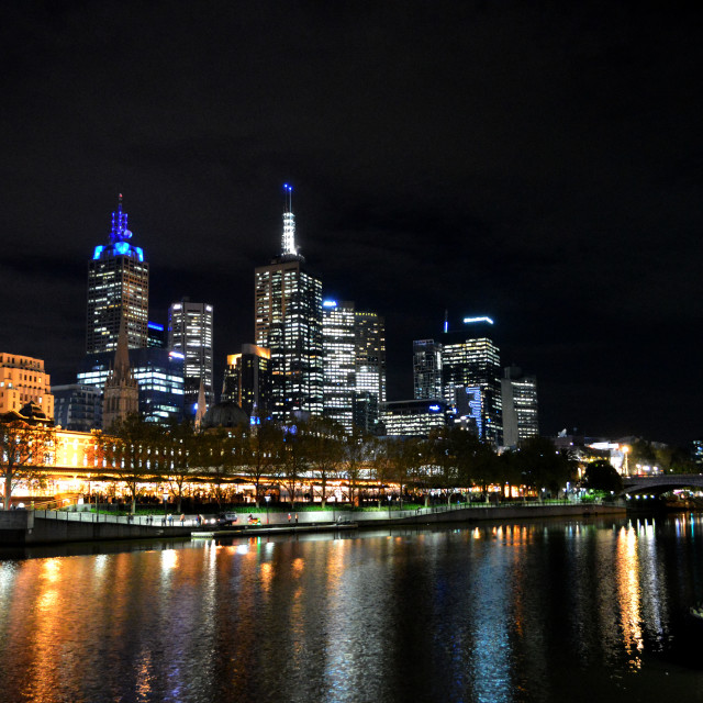 """Melbourne Skyline at Night"" stock image"