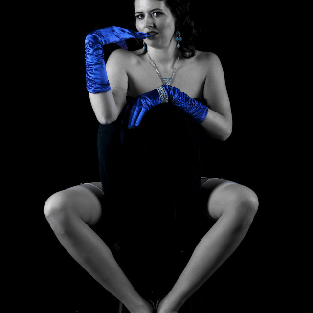 """Burlesque model in Keeler pose"" stock image"
