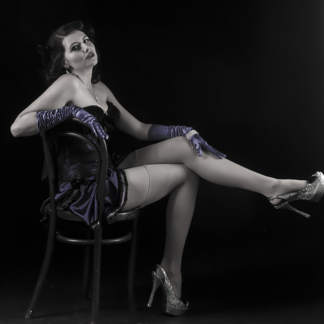 """Burlesque model on chair"" stock image"