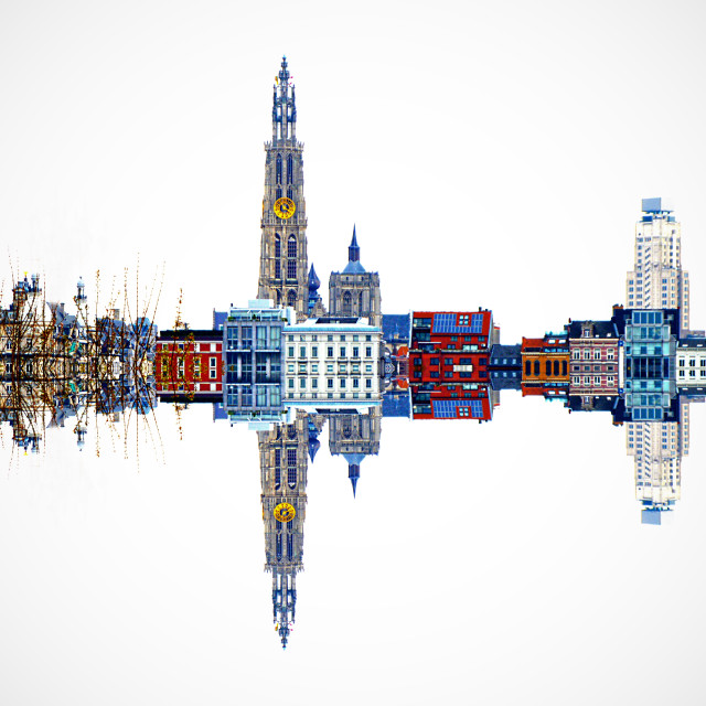 """Antwerp skyline in HDR reflection"" stock image"