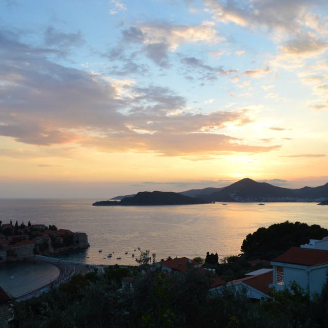 """Sunset over Sveti Stefan, Montenegro"" stock image"