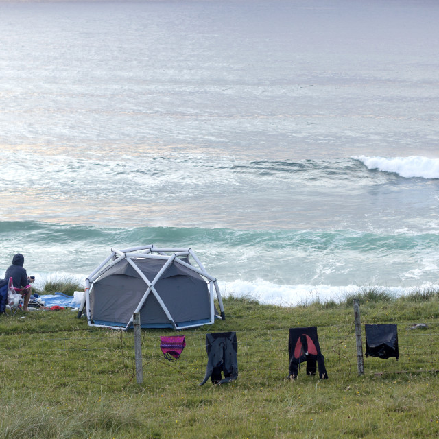 """Camping on Isle of Lewis, Outer Hebrides"" stock image"