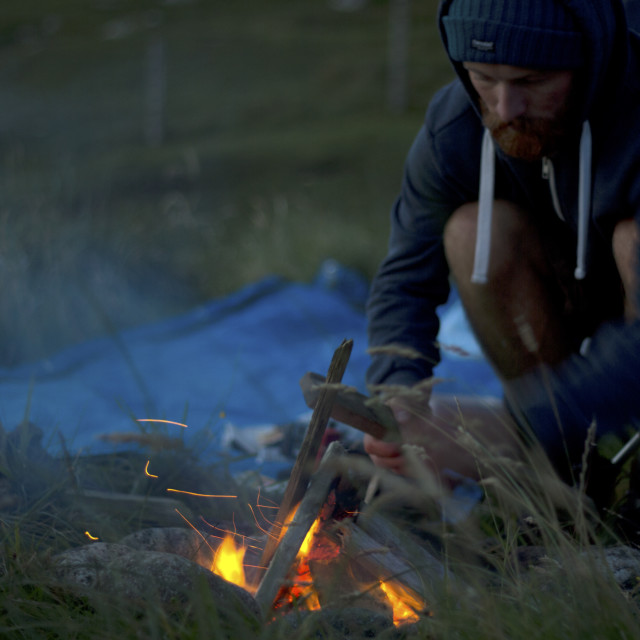 """Camp fire in Outer Hebrides, Scotland"" stock image"