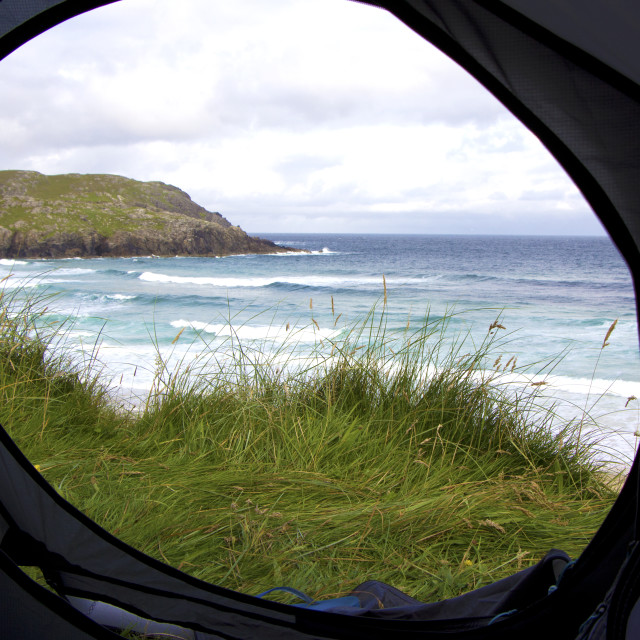 """Tent door view in Outer Hebrides, Scotland"" stock image"