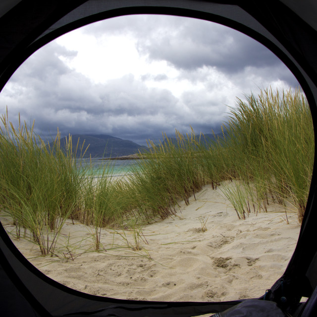 """Tent door view, Isle of Harris, Outer Hebrides, Scotland"" stock image"
