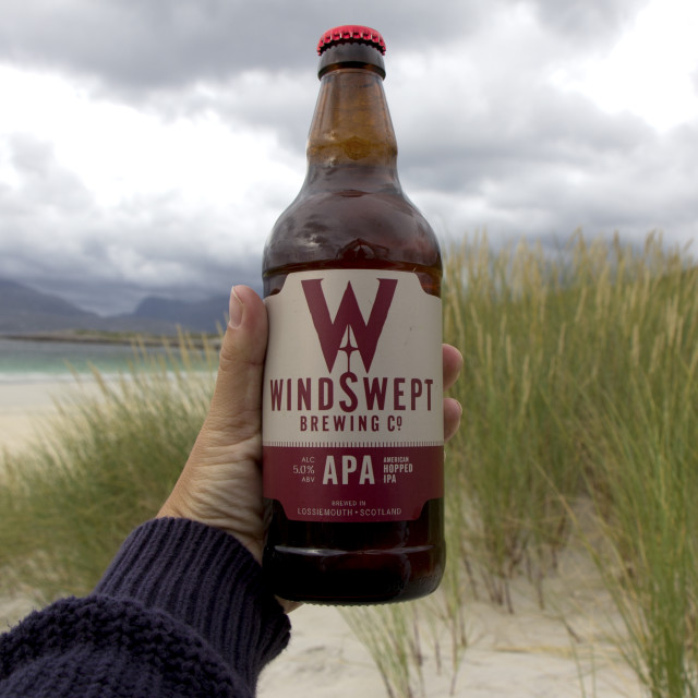 """Craft beer on Luskentyre Beach"" stock image"