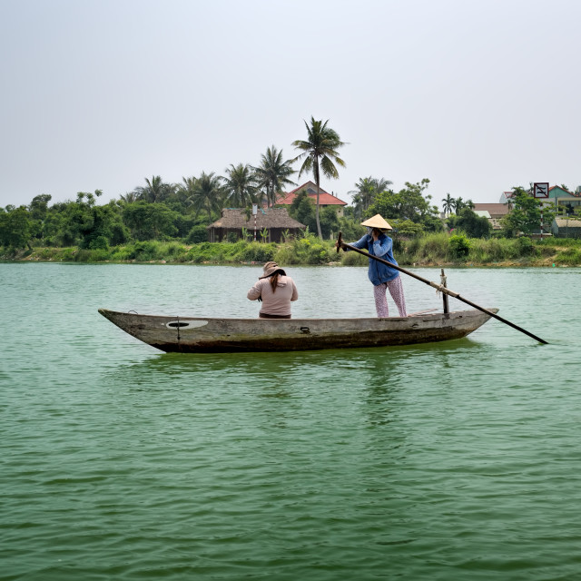 """Ladies on a Boat Hoi An Vietnam"" stock image"