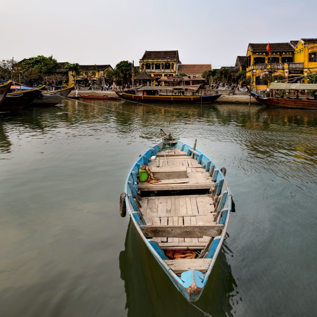 """Canal with Fishing Boat Hoi An Vietnam"" stock image"