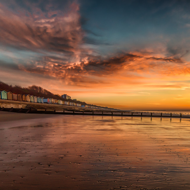 """""""Red Sky Morning at Frinton Beach"""" stock image"""