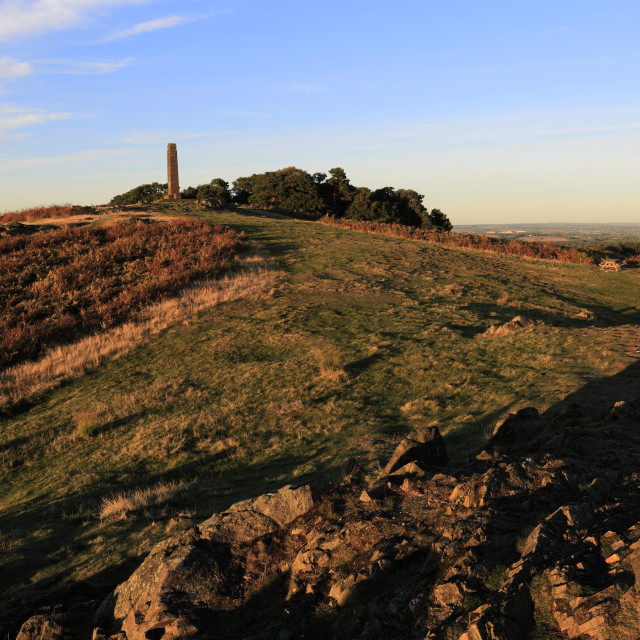 """Sunset over the Leicestershire Yeomanry Regiment monument, Bradgate Park,..."" stock image"