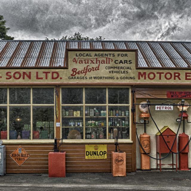 """Old village garage."" stock image"