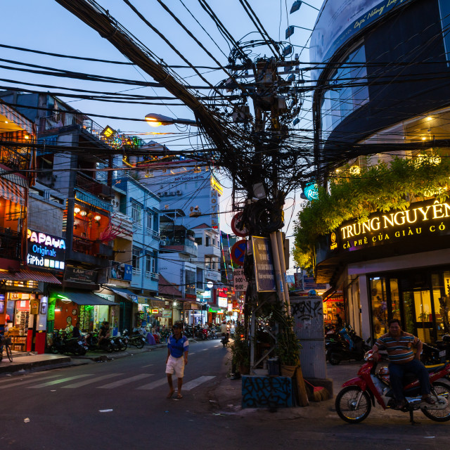 """Insanse cable infrastructure, Saigon, Vietnam"" stock image"