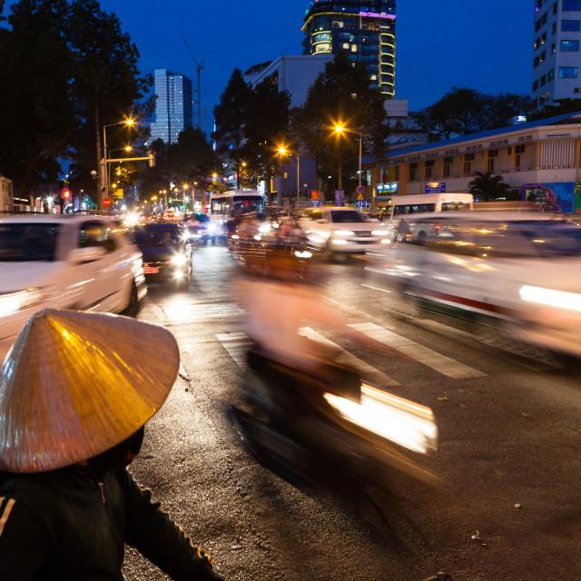 """Heavy traffic on the street of Saigon, Vietnam"" stock image"