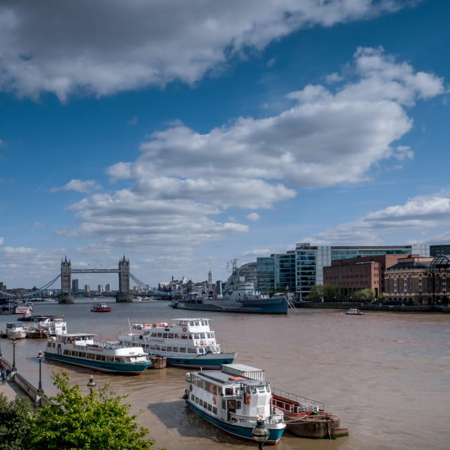 """Boats on the Thames"" stock image"