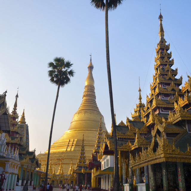 """Shwedagon Pagoda at Sunset"" stock image"