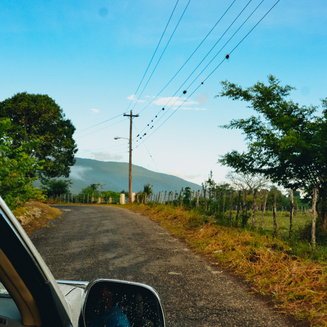 """""""Driving on a dirt road in Jamaica"""" stock image"""