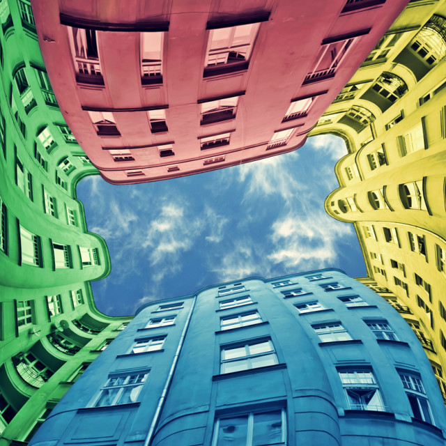 """Colorful block of flats"" stock image"