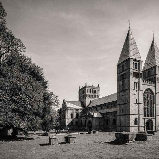 """The Minster (black and white)"" stock image"
