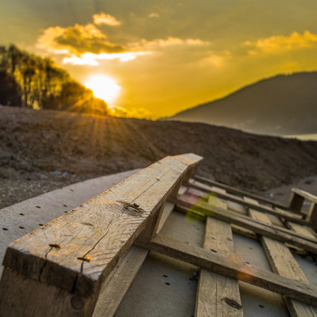 """""""Pallet at shore"""" stock image"""