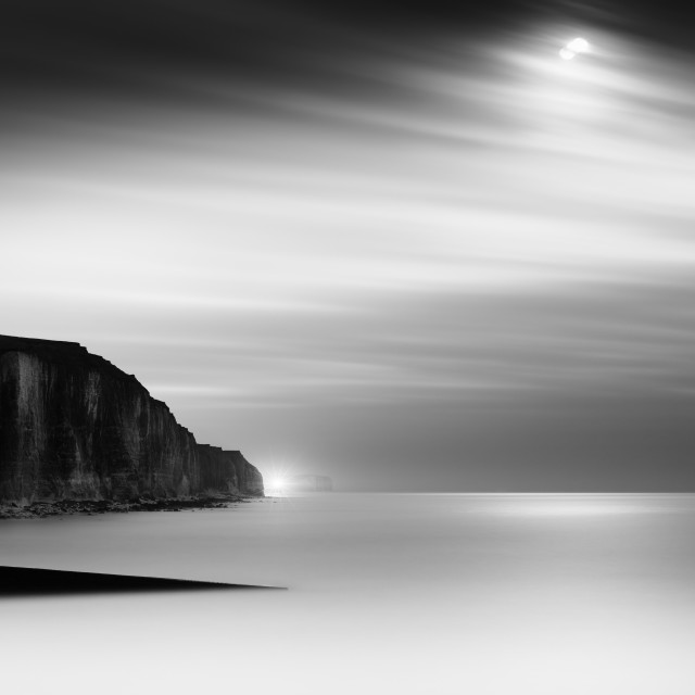 """peacehaven by moonlight, monochrome"" stock image"