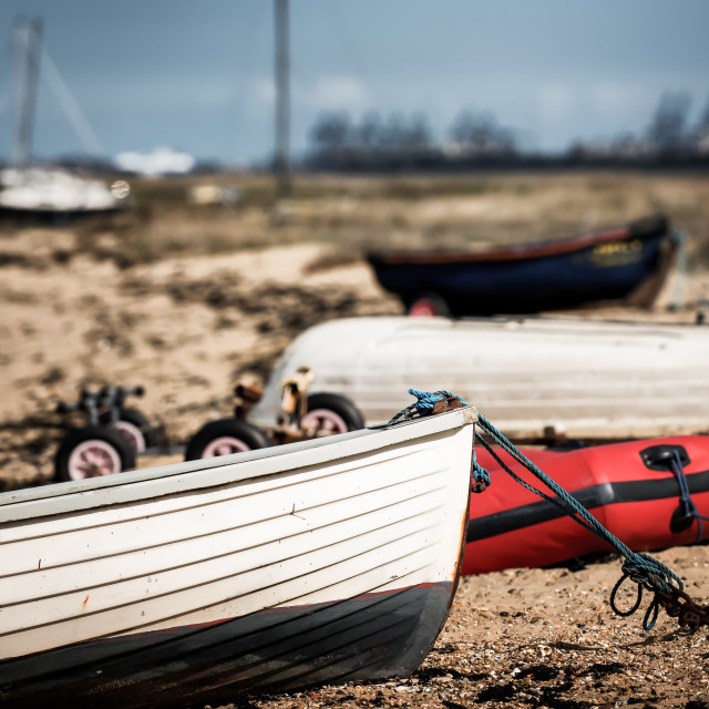 """Boat Jumble On The River Stour"" stock image"