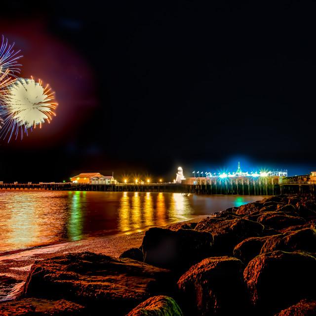 """April Fireworks Off Clacton Pier"" stock image"