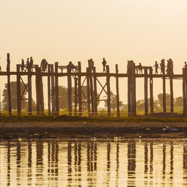 """U bein bridge sunset"" stock image"
