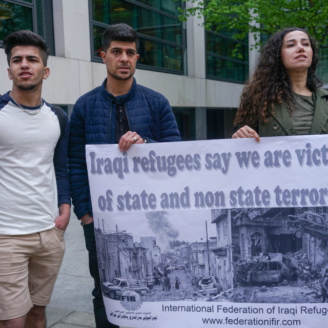 """""""London: Emergency protest against mass deportation flights to Iraq"""" stock image"""