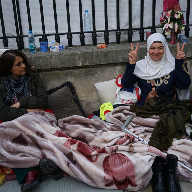 """Kurds on Hunger Strike opposite Downing street,London,UK"" stock image"